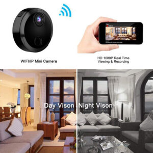 Mini Wifi IP kamera med HD 1080P, Infrarød natt filming og bevegelsedetektor for Iphone og Android