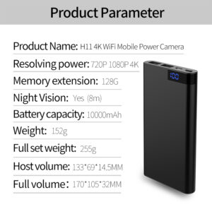 HD 4K 10000mAh WiFi Power Bank Kamera ned bevegelse sensor og natt filming.