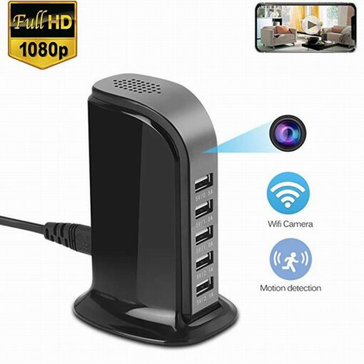 2 i 1, 5 porters USB Hub med 4K WiFi kamera og bevegelsedetektor.